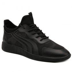 Stretch Fabric Faux Leather Athletic Shoes - BLACK