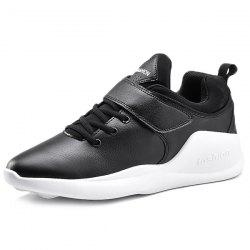 PU Leather Tie Up Athletic Shoes - WHITE AND BLACK