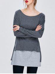 Color Block Long T-Shirt
