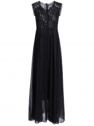 Chiffon Lace Panel Long Flowing Prom Dress