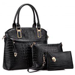 Crocodile Embossing Metal Embellished Handbag Set