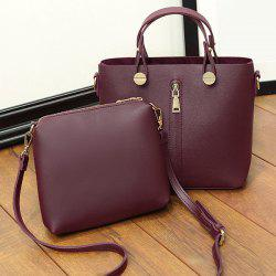 Zipper Faux Leather Handbag with Crossbody Bag