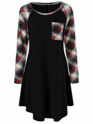 Plus Size Plaid Trim Single Pocket Dress