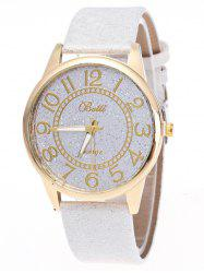 Faux Leather Glitter Number Watch - WHITE