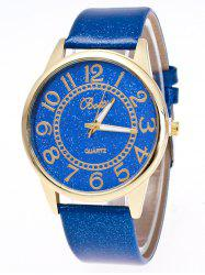 Faux Leather Glitter Number Watch