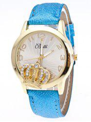 Faux Leather Crown Number Watch