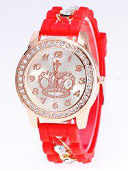 Silicone Rhinestone Crown Number Watch