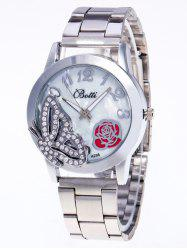 Rhinestone Butterfly Number Watch - SILVER
