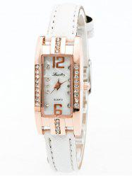 Faux Leather Rhinestone Rectangle Watch