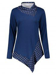 Polka Dot Panel Asymmetrical T-Shirt