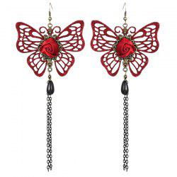 Rose Butterfly Teardrop Earrings