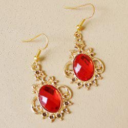 Fake Ruby Oval Earrings