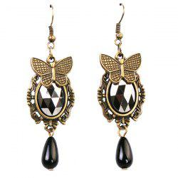 Artificial Gem Butterfly Teardrop Earrings