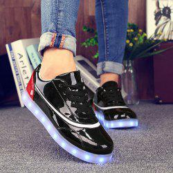 Led Luminous Color Block Athletic Shoes - RED WITH BLACK