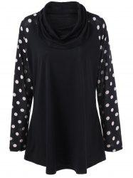 Plus Size Polka Dot Cowl Neck Tunic T-Shirt