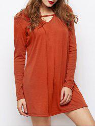 Long Sleeve V Neck Swing Dress