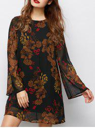 Bell Sleeve Tunic Flower Dress - BLACK
