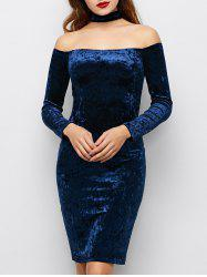 Choker Neck Velvet Off The Shoulder Cocktail Dress
