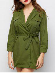 Wrap Long Sleeve Shirt Military Dress