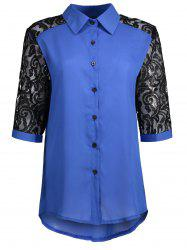 Hollow Out Plus Size Lace Shirt