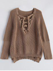 Lace-Up V Neck Pullover Sweater