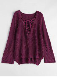 Lace-Up V Neck Pullover Sweater - BURGUNDY M