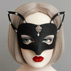 Rhinestone Floral Fox Mask - BLACK