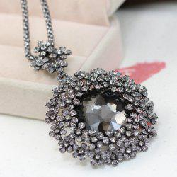 Faux Crystal Floral Pendant Necklace