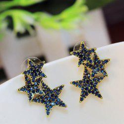 Rhinestoned Pentagram Stud Earrings
