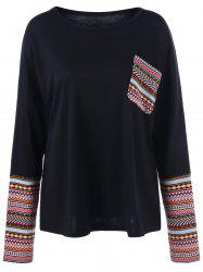 Tribal Print Pocket Plus Size T-Shirt