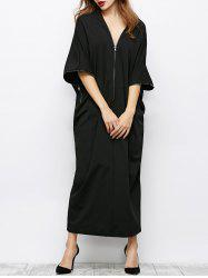 V Neck Zip Oversized Maxi Dress