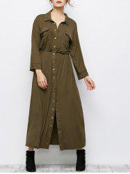 Single Breasted Maxi Shirt Military Dress With Pockets
