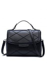 Rhombic Flapped Faux Leather Quilted Bag -