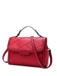 Rhombic Flapped Faux Leather Quilted Bag