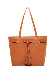Tassel Braided Suede Panel Shoulder Bag
