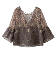 Strappy Back Printed Blouse -