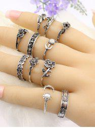 Flower Leaf Fake Gem Jewelry Ring Set - SILVER