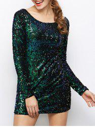 Long Sleeve Glitter Club Sequin T Shirt Dress