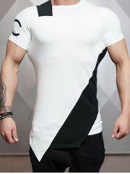 Asymmetric Color Block Short Sleeve Tee