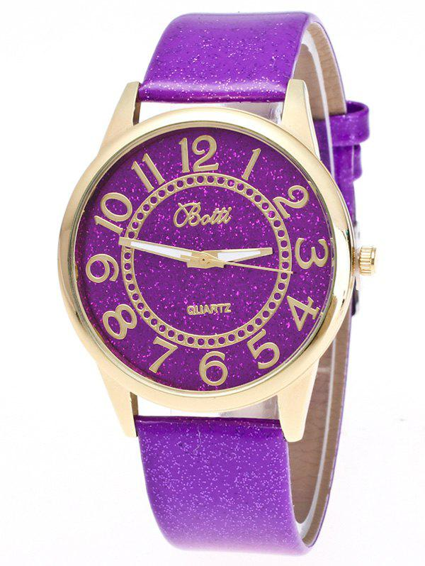 Faux Leather Glitter Number WatchJEWELRY<br><br>Color: PURPLE; Gender: For Women; Style: Fashion; Type: Quartz watch; Index Dial: Analog; Case material: Alloy; Band material: PU Leather; Movement: Quartz; Dial Shape: Round; Water-Proof: No; Case Thickness(MM): 0.9cm; Dial Diameter: 4cm; Band Length(CM): 24cm; Band Width(CM): 2cm; Package Contents: 1 x Watch;