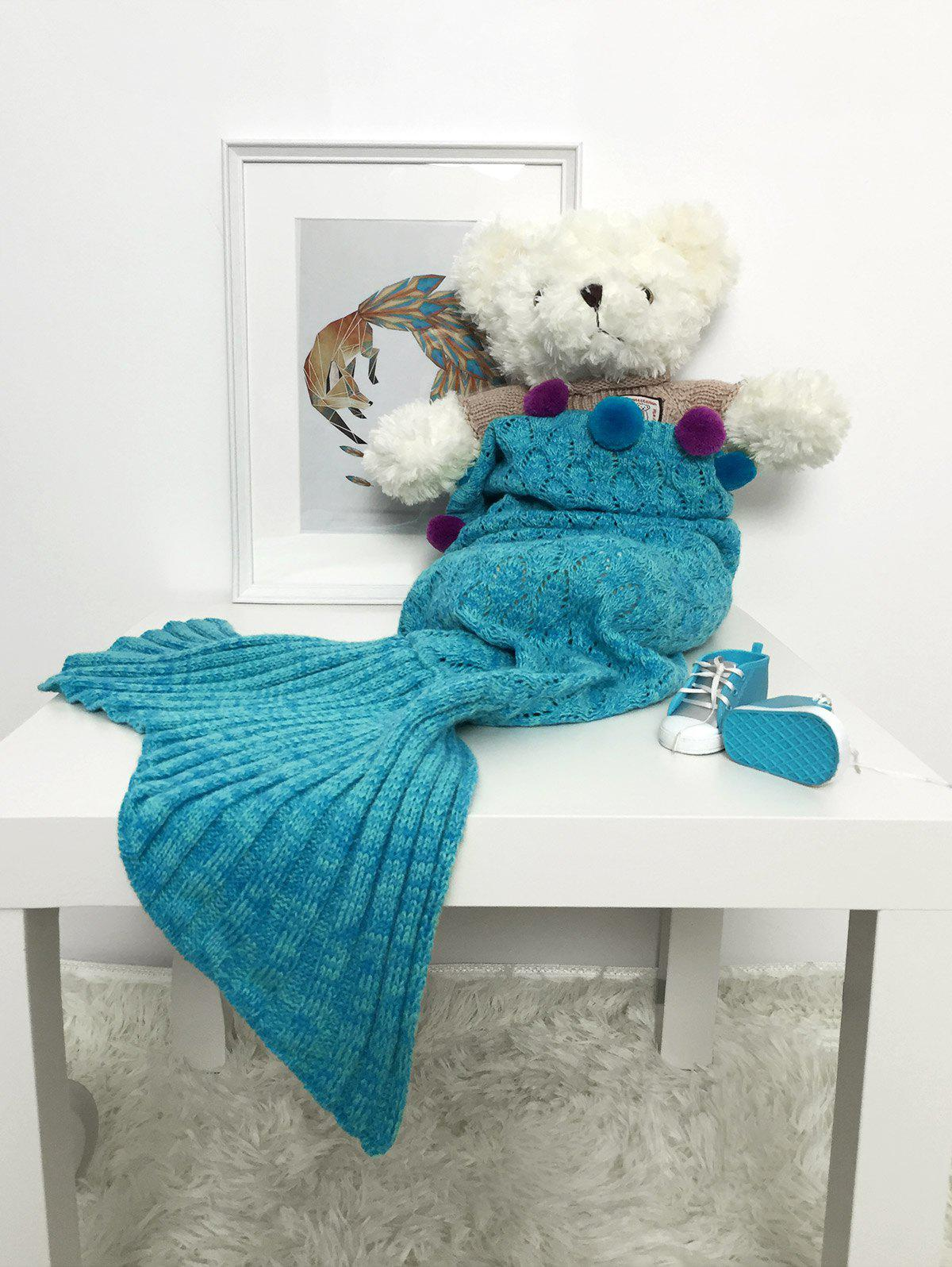 Buy Pompom Decorative Crochet Mermaid Blanket For Baby