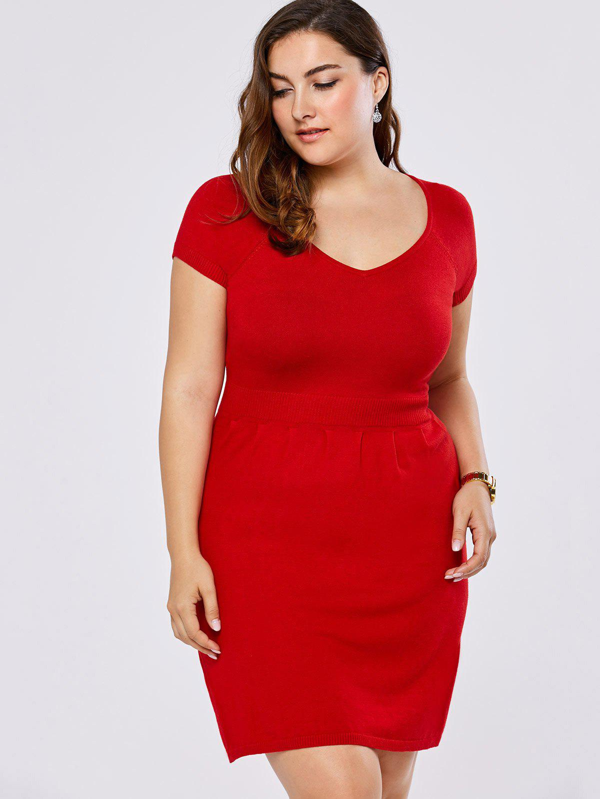New Plus Size V Neck Mini Sweater Dress