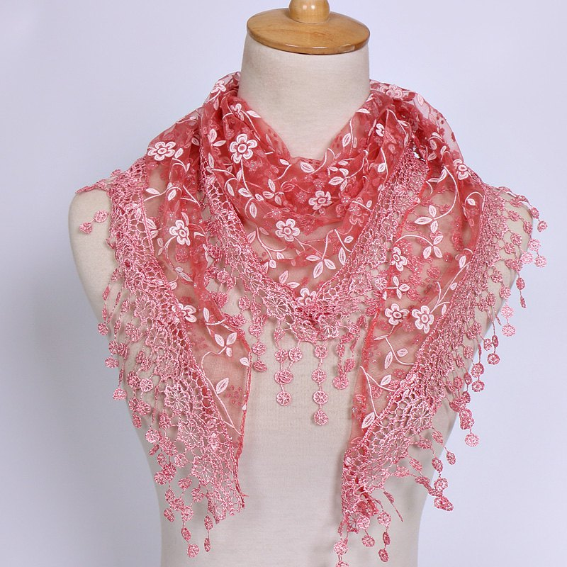 Casual Wintersweet Embroidery Tassel Triangle Trim Lace ScarfACCESSORIES<br><br>Color: GRENADINE; Scarf Type: Scarf; Group: Adult; Gender: For Women; Style: Fashion; Material: Polyester; Season: Fall,Spring,Summer; Scarf Length: 145CM; Scarf Width (CM): 40CM; Weight: 0.056kg; Package Contents: 1 x Scarf;