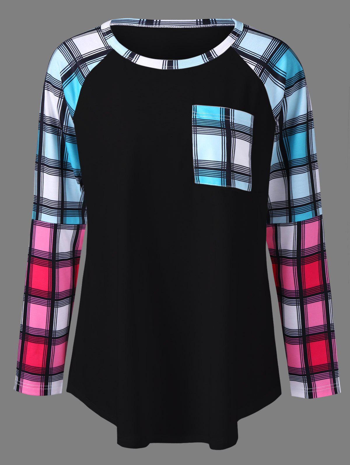 Plus Size Raglan Sleeves Long Plaid T-ShirtWOMEN<br><br>Size: 2XL; Color: BLACK; Material: Polyester,Spandex; Shirt Length: Long; Sleeve Length: Full; Collar: Round Neck; Style: Fashion; Season: Fall,Spring; Pattern Type: Plaid; Weight: 0.320kg; Package Contents: 1 x T-Shirt;
