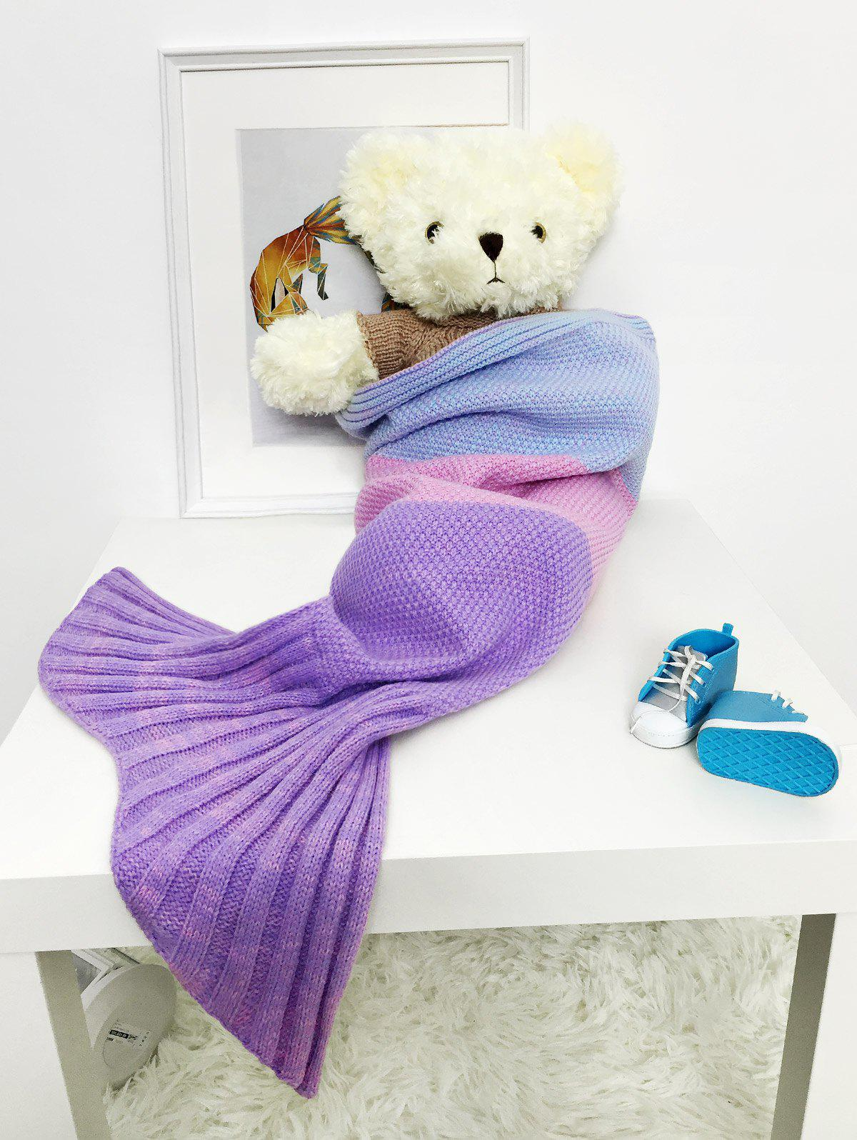 Discount Color Block Striped Knitted Baby Mermaid Blanket Throw For Sale