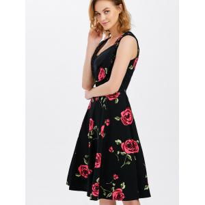 Vest Floral Printed Midi Swing Party Dress -
