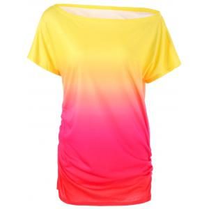 Ombre Ruched Skew Neck T-Shirt