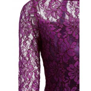 Floral Lace Sheer Dress with Sleeves -