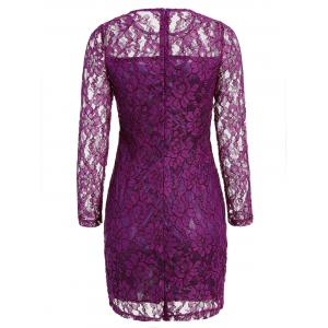 Cut Out Floral Lace Short Dress with Long Sleeve - PURPLE M