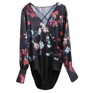 Criss Cross Floral Surplice Bodyduit Top - Floral - S